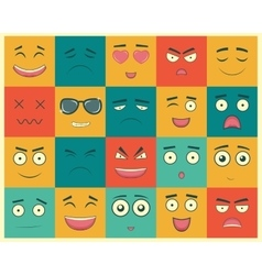 Set of square emoticons Emoticon for web site vector image