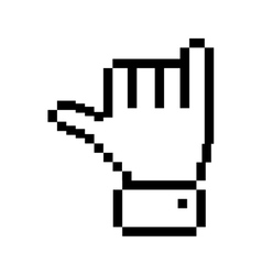 Outline pixelated hand with rock symbol vector