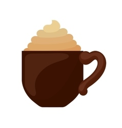 Classical cup of cappuccino with cream vector
