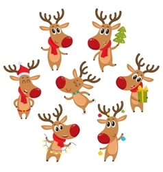 Rudolf reindeer with Christmas tree gifts vector image