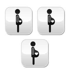 Pregnant woman - stages of bump buttons set vector image