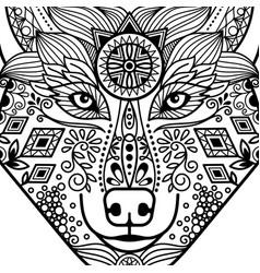 Zentangle black contour wolf head vector