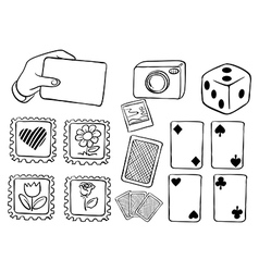 Different cards in doodle design vector image