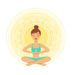 Young yoga woman meditating in the lotus position vector