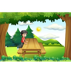 A wooden bench with a young boy at the forest vector
