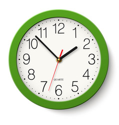 Simple classic green round wall clock isolated vector