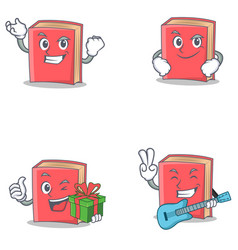 Set of red book character with successful smirking vector