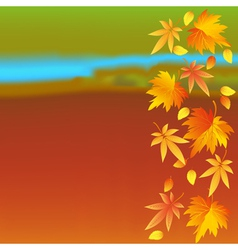 Autumn wallpaper with landscape and leaf fall vector image