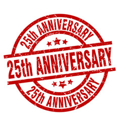 25th anniversary round red grunge stamp vector