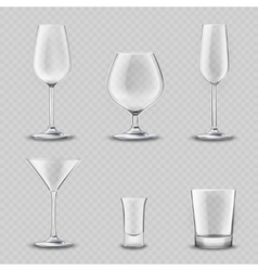Glassware transparent set vector