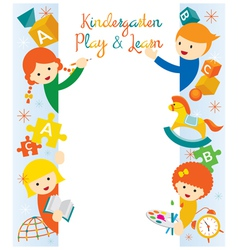 Kindergarten preschool kids border and frame vector