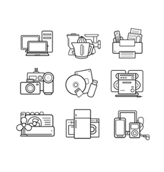 Household appliances line art icons set vector