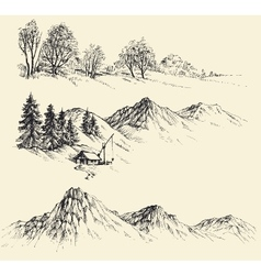 Artistic sketch of mountain ranges vector image