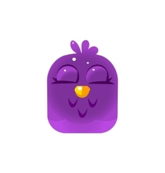 Purple sleeping chick square icon vector