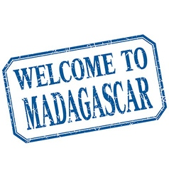 Madagascar - welcome blue vintage isolated label vector