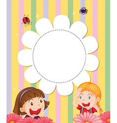 A stationery with two girls at the garden vector image vector image