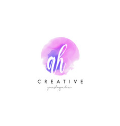 ah watercolor letter logo design with purple vector image