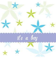 Baby boy and floral card vector image