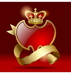 Badge with ribbon and crown vector image vector image