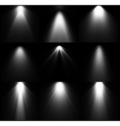 Black and white light sources set vector image vector image