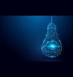 Brain in a lightbulb from lines and triangles vector