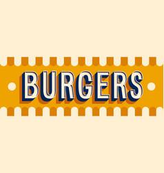 Burgers banner typographic design vector