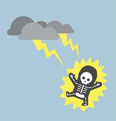 Businessman hit by lightning strike vector