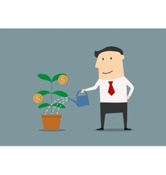 Businessman watering a money plant vector