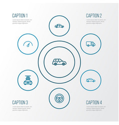 car outline icons set collection of caravan vector image vector image