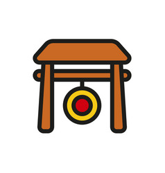Chinese gong hammer icon on white background vector