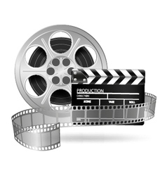 Cinema clap and film reel vector