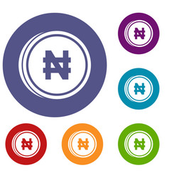 Coin naira icons set vector