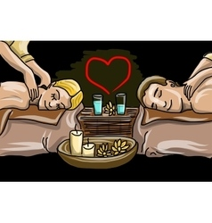 Couple man and woman in massage saloon vector
