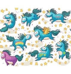 Cute seamless pattern with unicorns in the sky vector