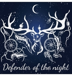 deer White silhouette Dream catcher vector image