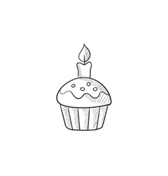 Easter cupcake with candle sketch icon vector image vector image