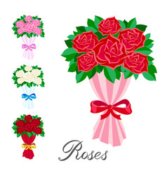 Elements set a bouquet of red pink white and vector