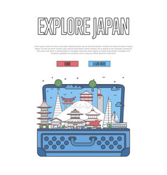 explore japan poster with open suitcase vector image