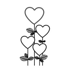 figure heart balloons trees icon vector image