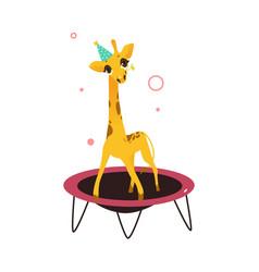 Flat giraffe jumping on trampoline vector