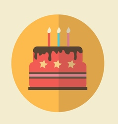 Flat Icon birthday cake icon vector image vector image