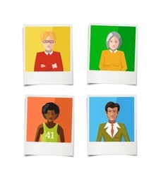 Four different polaroid instant photos with flat vector image vector image