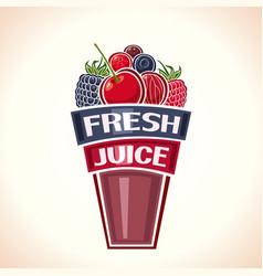 fresh berry juice vector image vector image