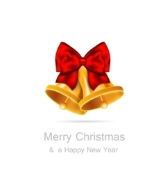 Golden bells with red bow on white background vector