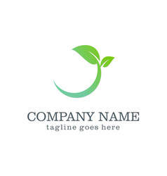 Green leaf organic design logo vector