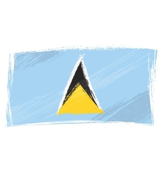 grunge saint lucia flag vector image vector image