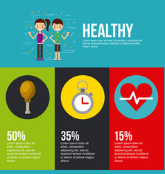 Healthy lettering infographic with related icons vector