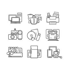 Household appliances line art icons set vector
