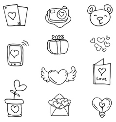 Love theme of doodles vector