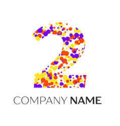 Number two logo with purple yellow red particles vector